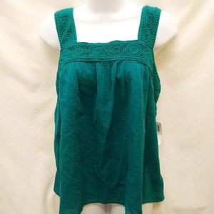 Old Navy Emerald Green Wide Strap Tank M NWT